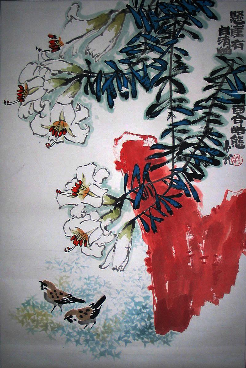 石壶 (1913--1976),四川荣昌人。早期作画号兰园,中期号南原、下里巴人、陈风子、十二树梅花主人,晚年号石壶,有中国梵高之称。抗日战争前,齐白石、黄宾虹先后寓居成都,陈子庄因得到他们的教诲而眼界大为开阔,同时上窥朱耷、石涛、吴昌硕诸大师的艺术精奥,从而决定了他的艺术走向。他陆续出版过《陈子庄作品选》、《陈子庄速写稿》、《石壶画集》、《陈子庄画集》和《石壶论画语界》等。曾任四川省文史馆研究员、四川省政协委员。1988年陈子庄作品遗作展在中国美术馆举办。50至60年代中期,他的画艺以奇兀、峭拔、灵宕